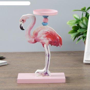 Подсвечник дерево на 1 свечу фламинго 20х13х6 см