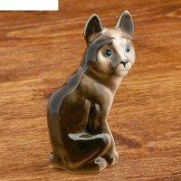 Статуэтка фарфоровая кошка, чёрная, 9,5 см