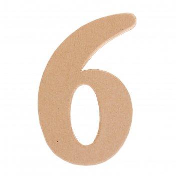 Основа для творчества и декорирования из папье-маше цифра шесть 11*7*1,2