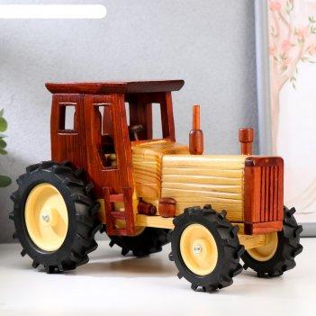 Сувенир дерево деревенский трактор 16х11,5х25 см