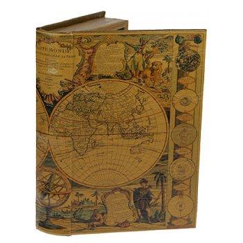 Шкатулка-фолиант карта мира xvii века 26*17*5см
