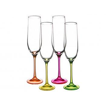 Набор бокалов для шампанского из 4 шт. neon 190 мл. высота=24 см.