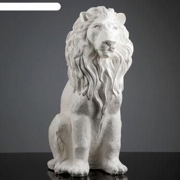 Фигура лев сидящий белая 40х25х56см
