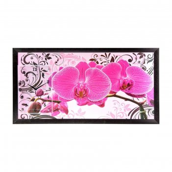 Часы-картина настенные розовые орхидеи с узором, 50х100 см, микс