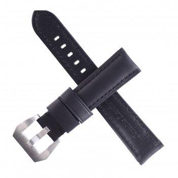 Ремешок для часов bugert 20 мм, натуральная кожа, l=20 см, черный