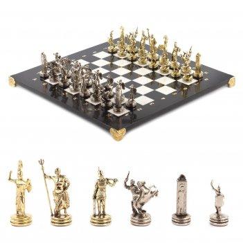 Шахматы греческая мифология доска 360х360 мм мрамор металл