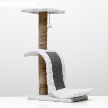Когтеточка волна с площадкой, джут, ковролин, 42 х 25 х 74 см, светло-серы
