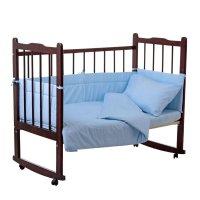 Комплект в кроватку 4 предмета горошки голубой 10403