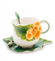 Fm-82/ 2 чайная пара лягушки и цветы канны (pavone)