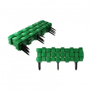 Ограждение декоративное, 27 x 240 см, 4 секции, пластик, зелёное