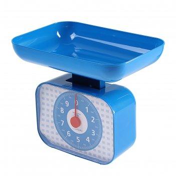 Весы кухонные luazon lvkm-1001, механические, до 10 кг, чаша 1200 мл, сини