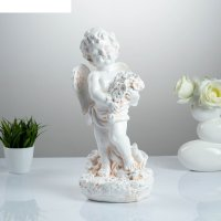Статуэтка ангел с цветами большая, бежевая