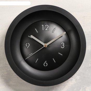 Часы настенные классика, без стекла, плавный ход,  d=25.4 cм