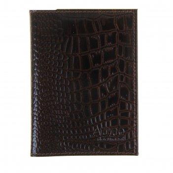 Обложка для документов водителя o-71/o-71 (коричневый темный крокодил мелк