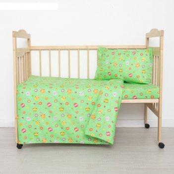 Постельное бельё детское совунья, цвет зеленый, 112x147, 100x150, 40x60 1
