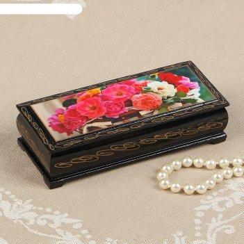 Шкатулка «цветы в корзинке», 14x6 см, лаковая миниатюра