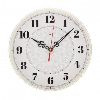 Часы настенные узор, рубин, 25х25 см
