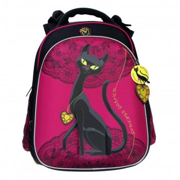 Рюкзак каркасный hummingbird t 39*28*24, дев t102(gr) кошка, розовый/чёрны