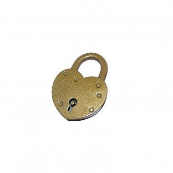 Замок навесной н.новгород  звс-3, сердечко, d=8 мм, 2 ключа, цвет золото