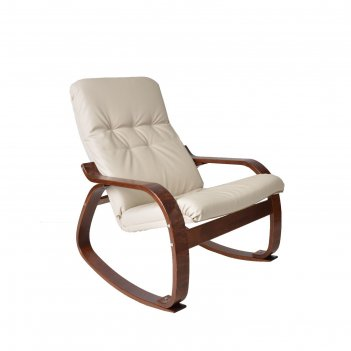 Кресло-качалка сайма экокожа бежевый/каркас вишня