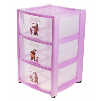 Комод для игрушек маша и медведь на колёсиках, 3 выдвижных ящика с апплика