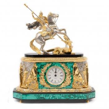Каминные часы георгий победоносец малахит позолота