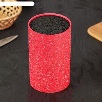 Подставка для ножей «зефир», 11x18 см, с наполнителем, цвет красный
