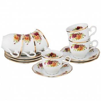 Кофейный набор на 6 персон английские розы 12 пр...