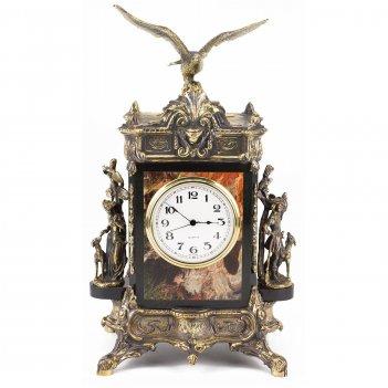 Каминные часы охота бронза яшма 250х190х440 мм 15 кг