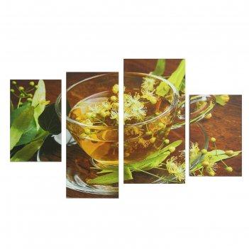 Модульная картина на подрамнике цветочный чай, 2 — 30x45, 1 — 29,5x69, 1 —