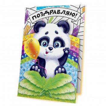 Аппликация перьями и стразами, открытка панда
