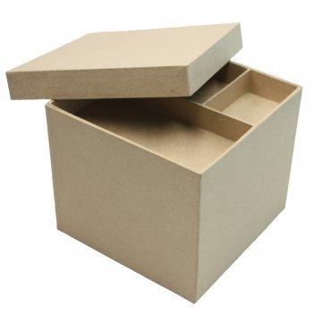 Шкатулка квадратная из папье-маше с органайзером внутри, 21 х 17,5