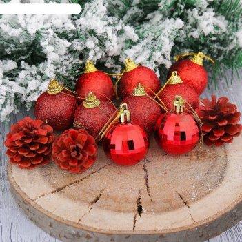 Шары новогодние домик набор 12 шт (9 шаров,3 шишки) 4*11,5*20 см, красный