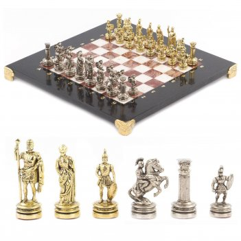 Шахматы римляне доска 280х280 мм мрамор лемезит металл