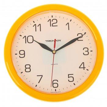 Часы настенные круглые солнечный круг, d=24,5 см, рама жёлтая