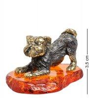 Am-1748 фигурка собака грифон (латунь, янтарь)