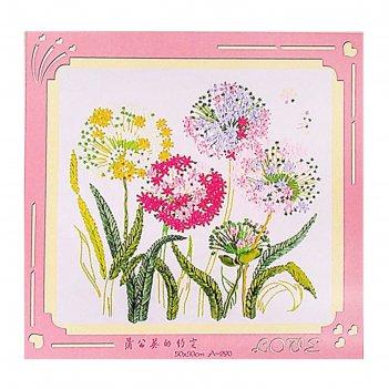 Набор для вышивания лентами цветы размер основы 50*50 см