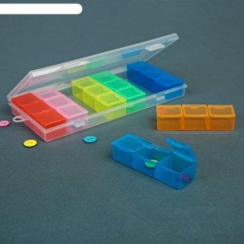 Контейнер для рукоделия, 7 контейнеров по 3 отделения, 19 x 8 x 2 см, цвет