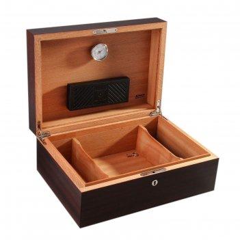 Хьюмидор с ключом на 130 сигар с гигрометром и увлажнителем, 35 ? 25 ? 14