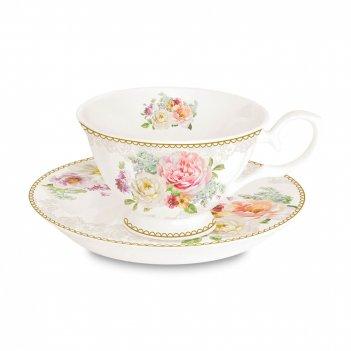 Пара чайная «цветочная романтика», объем: 200 мл, материал: фарфор, цвет: