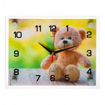 Часы настенные, серия: животный мир, мишка, 20х26 см  микс