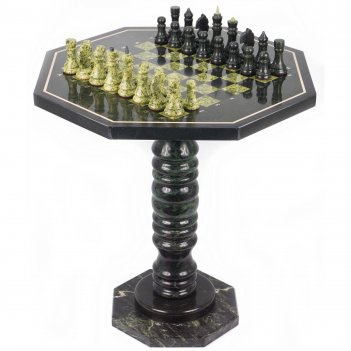 Шахматный стол с каменными фигурами змеевик 600х600х620 мм