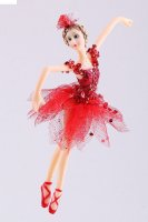 Украшение новогоднее балерина 18*9*6 см ярко красная