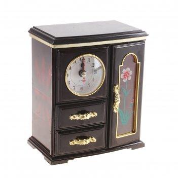 Шкатулка музыкальная шкаф с зеркалом и часами