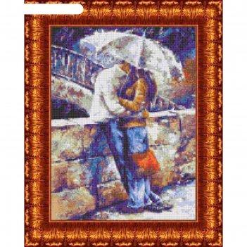 Схема для вышивания крестиком «двое под зонтом», канва 23х30 см