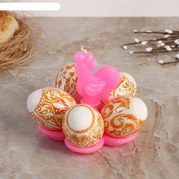 Свеча-подставка для 5 яиц золотой петушок
