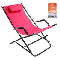 Кресло туристическое с подголовником 115х55х77 см, цвет: красный