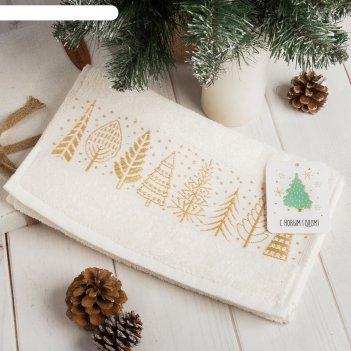 Полотенце махровое новогодний лес 30х70 см 100% хлопок, 370гр/м2