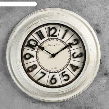 Часы настенные, серия: классика, вектор, белые, d=40 см