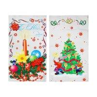 Пакет подарочный свеча и заяц 20 х 35 см, цветной металлизированный рисуно